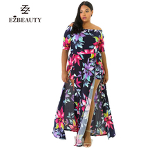 Long Maxi Women Sexy Club Dress Print Floral Short Sleeve Spring Autumn Dresses Femme Split Party Vestidos