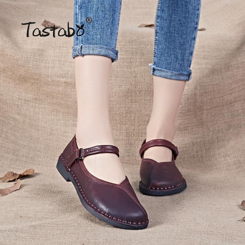 Tastabo shoes women 2017 Spring Autumn Handmade Genuine leather Comfortable Round toe Solid Casual shoes Nurse Peas Loafer