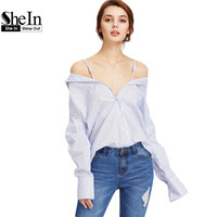SheIn Blue Vertical Striped Convertible Blouse Women Tops And Blouses 2017 Cold Shoulder Long Sleeve Casual