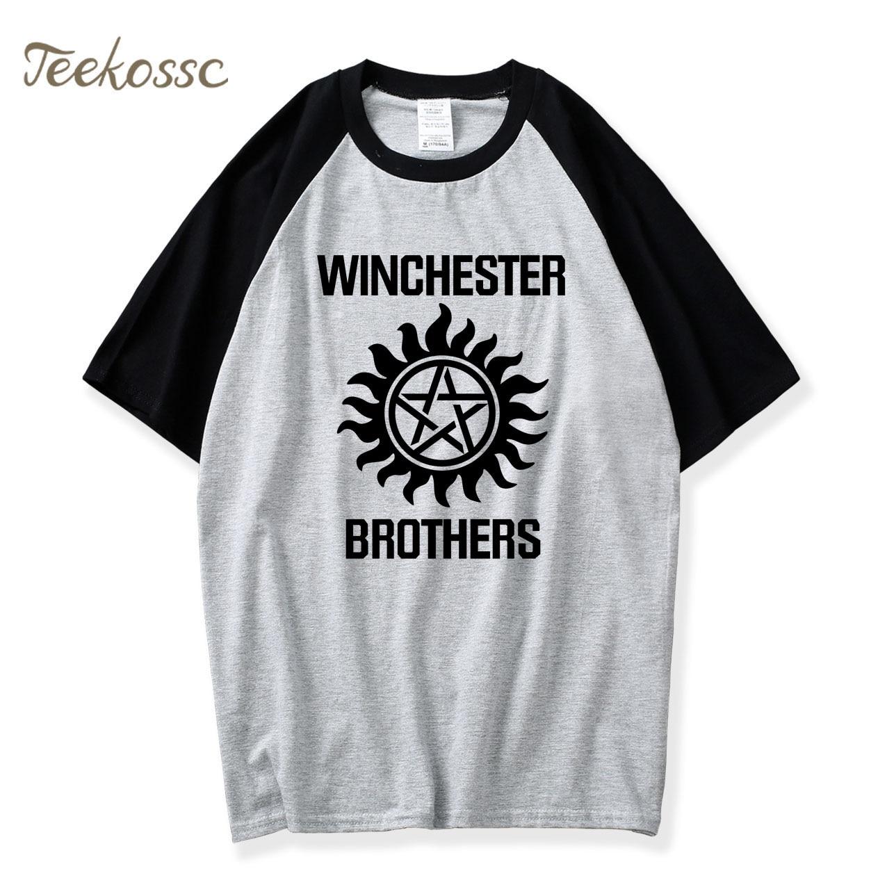 Supernatural T Shrit Winchester Brother Tshirt 2018 Hot Sale Summer Raglan T Shirt Men 100% Cotton Casual T-Shirt Camiseta Tees
