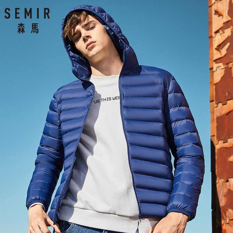 Chaqueta de plumón de marca SEMIR para hombre, chaqueta de invierno de moda casual para hombre, cazadora con capucha, abrigo de pato blanco, prendas de vestir para hombre