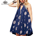 2016 spring summer new ethnic style hollow out o-neck vest sleeveless vintage print  dark blue dress real photo