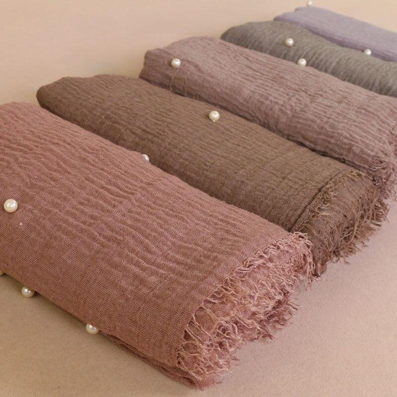 Hohe Qualität Plain Gefältelt hijab Blase Baumwolle Schal perle Schal Muslimischen Stirnband Wrap bandana Große Größe 20 teile/los 40 Farben-in Damenschals aus Kleidungaccessoires bei AliExpress - 11.11_Doppel-11Tag der Singles 1