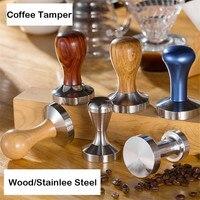 Edelstahl Holz Kaffee Tamper 58mm Kaffee Pulver Hammer Flache Basis Massivholz Griff Barista Espresso Zubehör Werkzeuge
