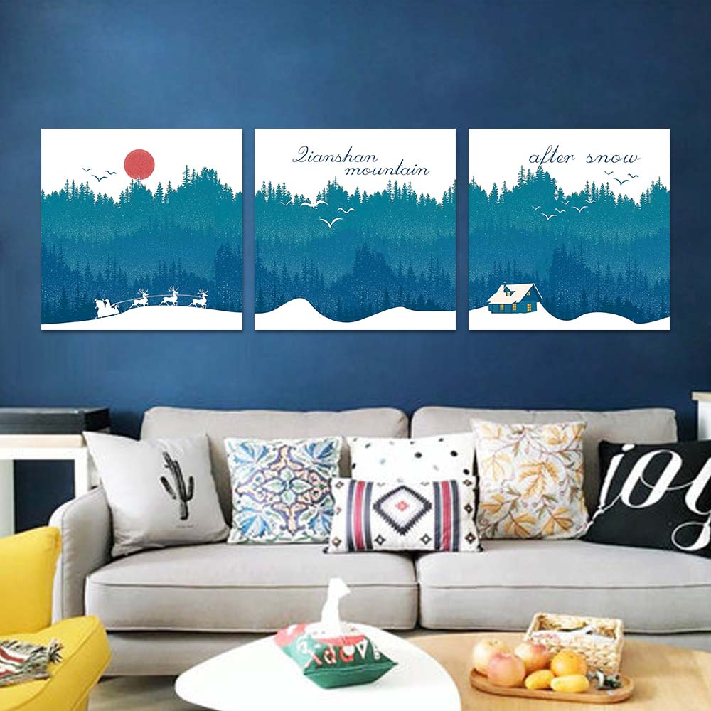 Unframed Canvas Print Nordic Style Forest Snow Sleigh House Red Sun Print Wall Picture For Living Room Wall Art Decoration