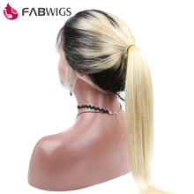 Fabwigs Ombre Blond Glueless Lace Front Wig 130% Density Two Tone Human Hair Wig with Baby Hair For Black Women Remy Hair