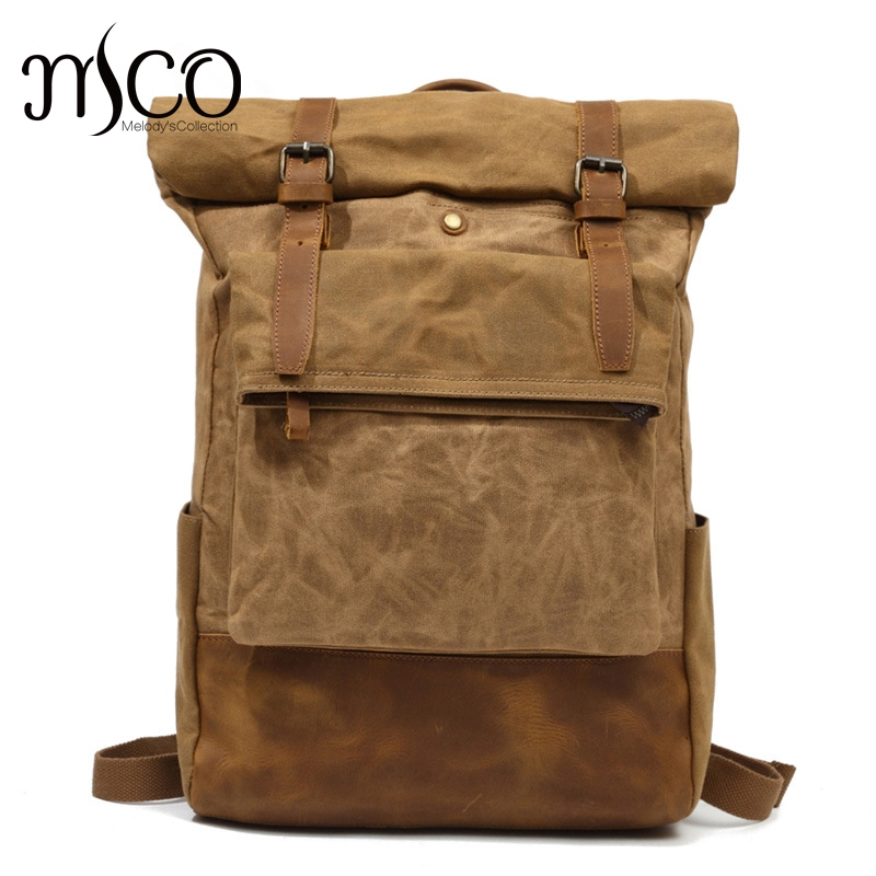 2018 mode hommes Vintage ciré toile sac à dos école étanche sac de voyage Double rétro sac à dos polochon Weekender sac à dos