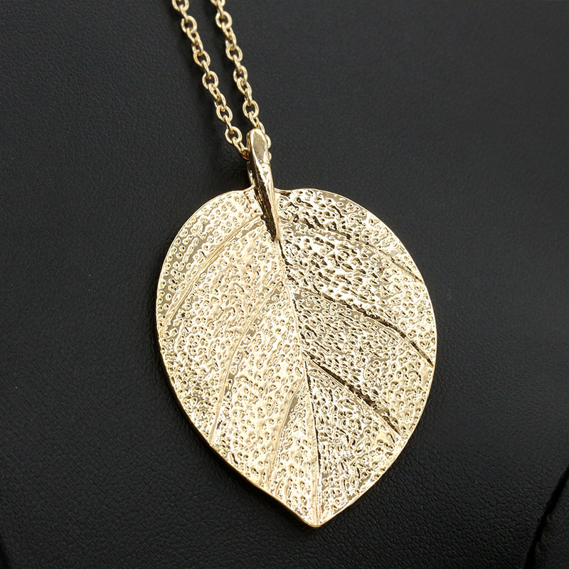 HOMOD Bodhi Leaf Pendant Gold Color Necklace Bohemian Jewelry Natural Leaves Maxi Long Necklace Cloth Accessories Women Gift