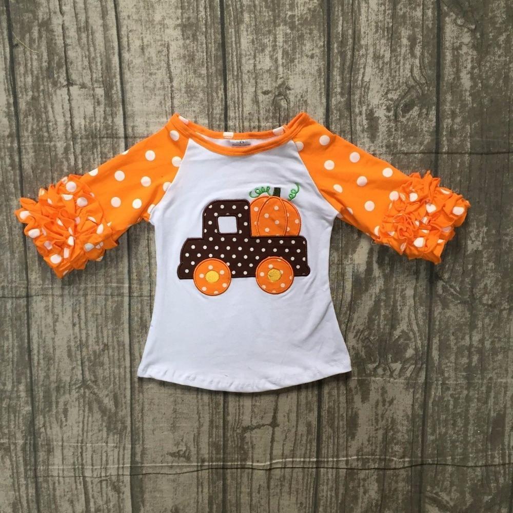 baby girls Halloween cotton raglans girls pumpkinin the car raglans girls pumpkin Halloween party raglans polka dot sleeve tee
