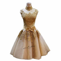 Gold Lace Prom Dresses 2018 High Neck Knee Length Imported China Party Dress Vestidos De Gala