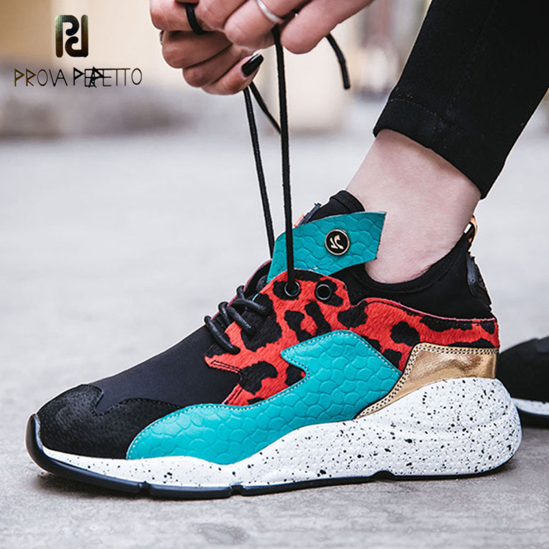 Prova Perfetto New Casual Femmes Plat Lacets Coins Femmes Sneakers Cheval Cheveux Loisirs Appartements Respirant Dentelle Up Zapatos Mujer
