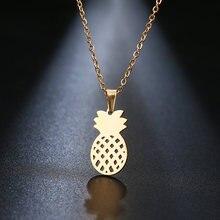 DOTIFI ожерелье из нержавеющей стали для женщин Lover's золотистого и серебристого цвета кулон с ананасом ожерелье ювелирных изделий для помолвк...
