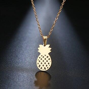 DOTIFI ожерелье из нержавеющей стали для женщин Lovers золотистого и серебристого цвета кулон с ананасом ожерелье ювелирных изделий для помолвк...