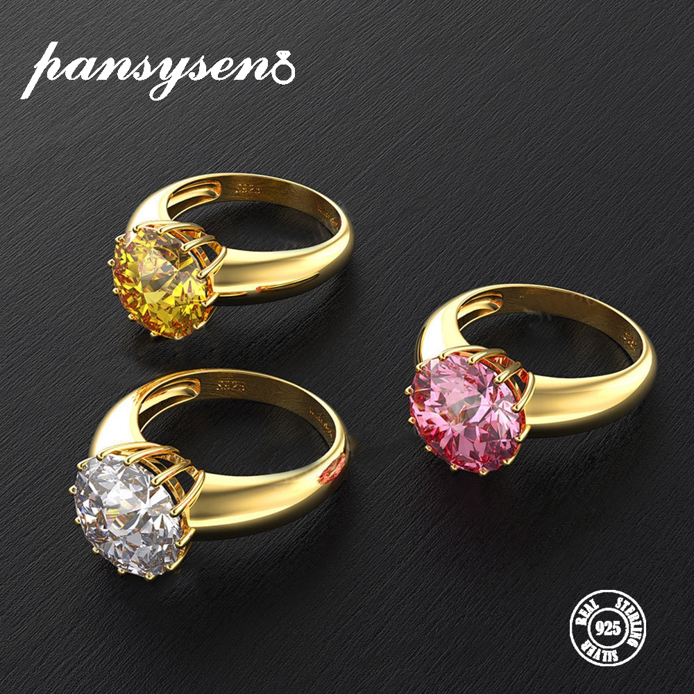 PANSYSEN Gold Color Luxury Womens Wedding Engagement Rings 925 Silver Jewelry 12MM Round Cut Natural Gemstone Ring Size 5-12 PANSYSEN Gold Color Luxury Womens Wedding Engagement Rings 925 Silver Jewelry 12MM Round Cut Natural Gemstone Ring Size 5-12