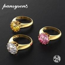 PANSYSEN Gold Color Luxury Women's Wedding Engagement Rings 925 Silver Jewelry 12MM Round Cut Natural Gemstone Ring Size 5-12 цена в Москве и Питере
