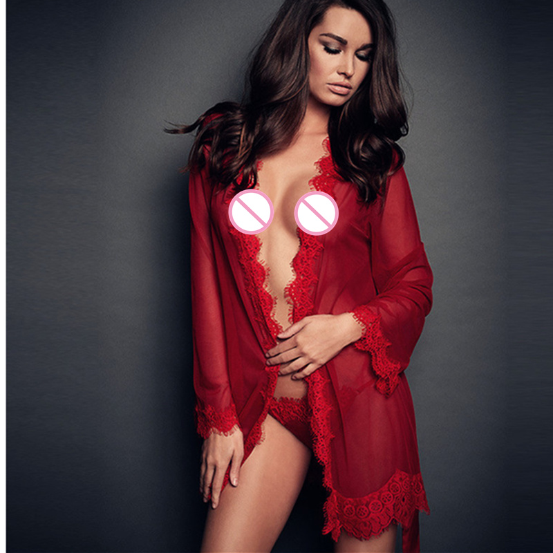 Hot Red Black Sexy Lingerie Short Robe See Through Lace Babydoll Bathrobes Sleepwear Lace Nightgown Lingerie With G-string