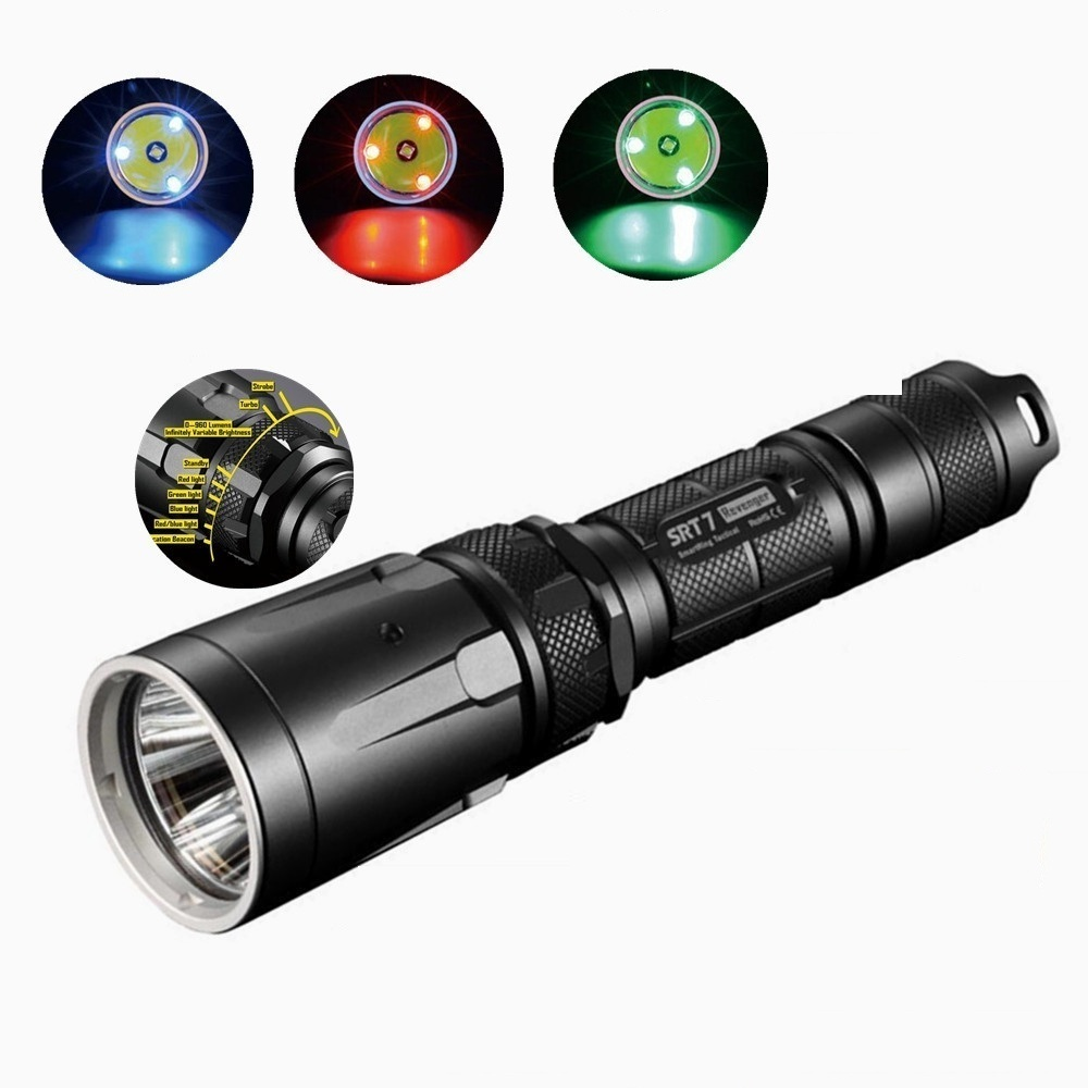 NITECORE SRT7 CREE XM-L2 960LM Flashlight Smart Selector Ring Waterproof Rescue Search Torch 3 colour green blue red nitecore mt10a 920lm cree xm l2 u2 led flashlight torch