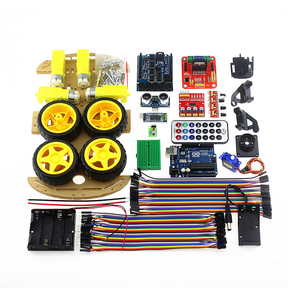 4wd Robot Car Chassis Kit Controlled By Bluetooth For Arduino Uno R3 Electronics Project How To Make A Remote Control Mega328p Diy