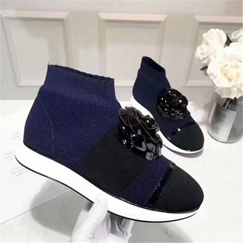 Женская вязаная удобная обувь на плоской подошве, повседневные Нескользящие кроссовки bota feminina, осень 2019 - 4