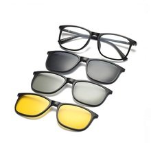 eyewear magnetic clip TR Spring eyeglasses legs myopia eyeglass frame with clip on three Polarized