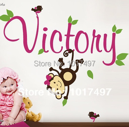 Cute Handmade Custom Birds Monkey With Personalized Baby Girl Name Vinyl Wall  Decal Stickers For Baby Part 72