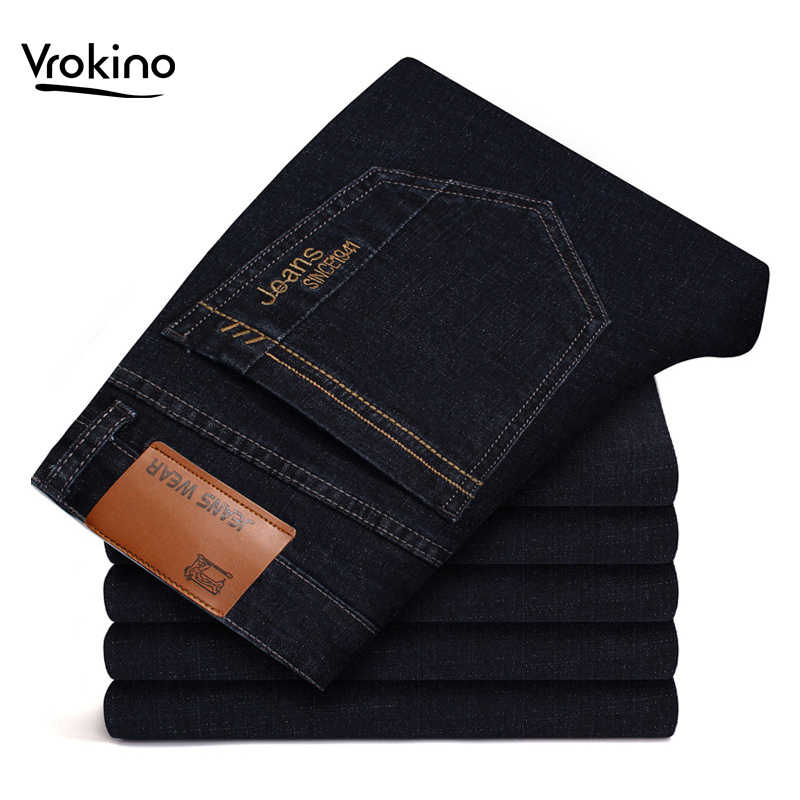 VROKINO Brand 2019 New Jeans Listed Men's Business Casual Jeans Fashion Loose Straight Embroidery Classic Jeans Large Size Pants