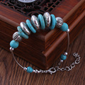 New Retro Bohemian Style Tibet Silver Plated Carved Metal Link Chain Bracelets Turquoise Stone Bracelets & Bangles For Women