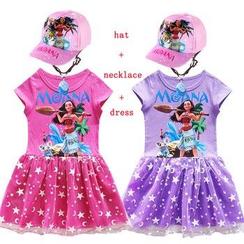eb7e507ec 2018 chica Moana + collar otoño vestidos aventura traje niños Vaiana  princesa playa fiesta disfraz ...