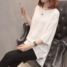 7485 (3 room 8 Row 4) take the new solid color stripes loose sleeved sweater 32(China)
