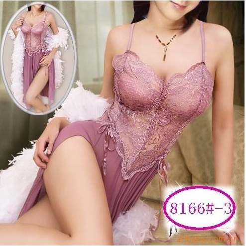 SEXY LINGERIE  SHEER LONG OPEN FORK LACE DRESS  TEDDY BABYDOLL LINGERIE DRESSES G-STRING SIZE FRE