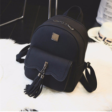 tassel women leather backpack teenage backpacks for girls vintage feminine backpack 3157 sac a dos femme