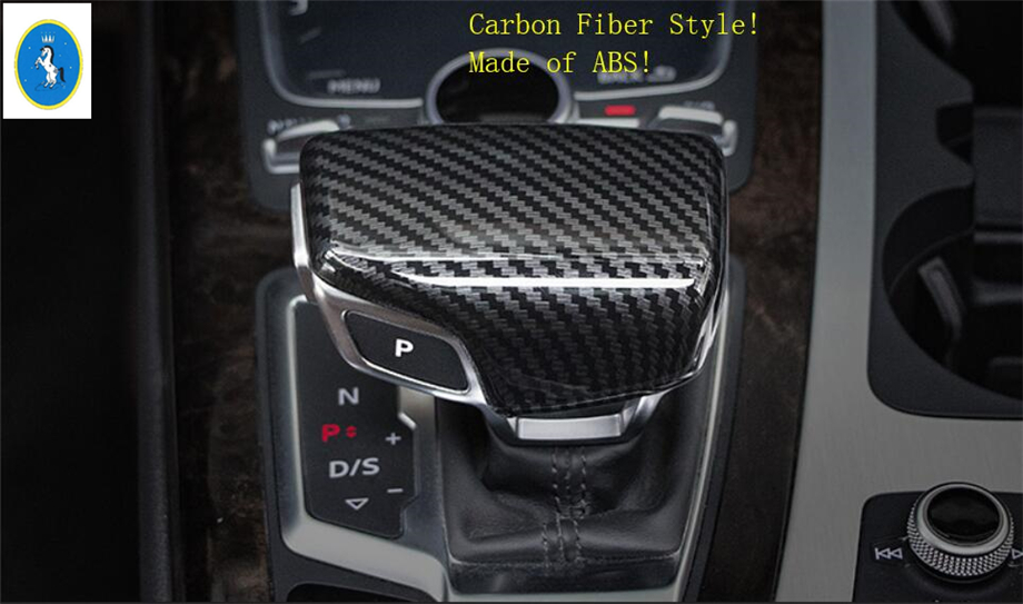 Yimaautotrims Auto Accessory Gearshift Gear Shift Head Knob Cover Trim 1 Pcs Fit For Audi Q5 2018 2019 / Carbon Fiber Style ABS gear shift