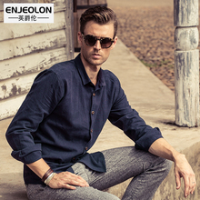 Enjeolon top brand new casual Men Slim Blouse Shirt,Long Sleeve Base black solid cotton men Shirt for Men Clothes C2014