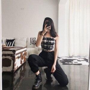 Image 5 - Vangull calças de cintura Alta Novas soltos corredores harem das mulheres do exército calças cargo camo calças streetwear do punk preto mulheres calças capris