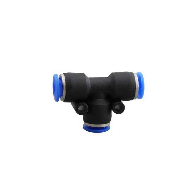 PE-6 en plastique pneumatique bleu Air rapide connecteur 3 voies élément 6mm à 6mm à 6mm Push In té Type raccord de tuyau pièces