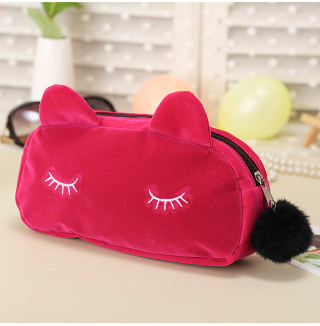 Saucy Cat Makeup Bags With Multicolor Pattern Cute Cosmetics Pouchs For Travel Las Pouch Women Cosmetic