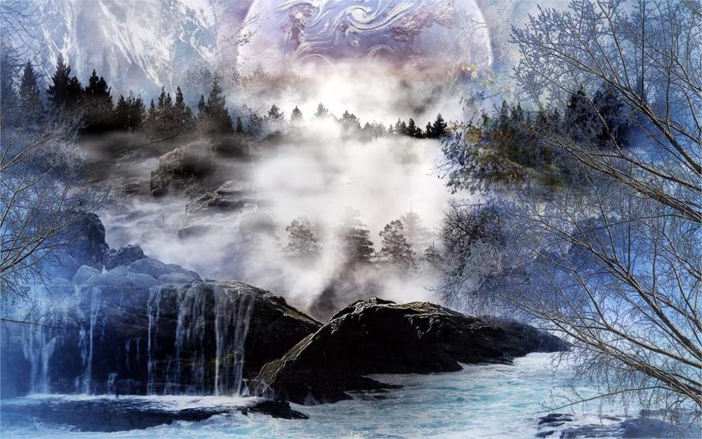 2017 Direct Selling Sale Rectangle No Beautiful River Trees Waterfall Mountain 3d Art 4  ...