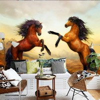 Free Shipping Custom HD 3D Stereo Double Horse Decorative TV Backdrop Mural Bedroom Hotel Living Room