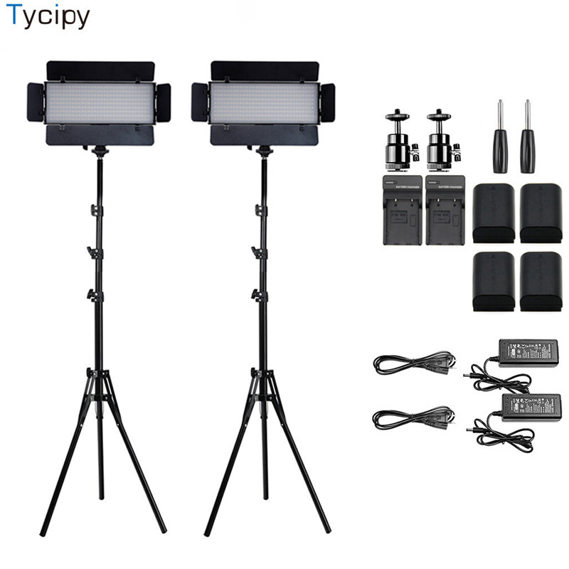 Tycipy 2 SET Dimmable Caméra LED Vidéo Phtot Studio Caméra Lumière Lampe Pour Canon Nikon Pentax Sony DV DSLR