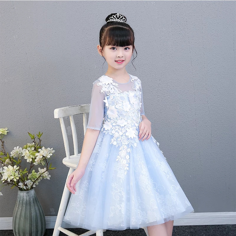 2018 New Summer Children Girls Elegant Flowers Wedding&birthday Party Knee-length Dress Baby Kids Sweer Lace Tutu Piano Dress new arrival fashion summer girls kids sleeveless flower dress elegant sweet children girls knee length ball gown dress