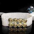 2016 pearl beaded crystal luxury wedding Elastic sash Diamond wide belt decorative belt stretched  Rhinestones wedding sashPJ203