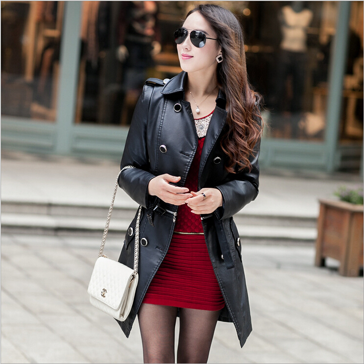 Europe and America fashion PU   leather   jackets solid color lapel package hip women long   leather   coat trench plus size XZ-129