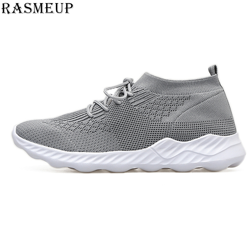 RASMEUP Mesh Breathable Women's Sneakers 2018 Summer Fashion Lace Up Flat Women Walking Shoes Outdoor Lightweight Woman Shoes breathable women hemp summer flat shoes eu 35 40 new arrival fashion outdoor style light