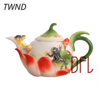 420ML Enamel Teapot Bone china frogs lotus pot creative kettle suit tea water coffee