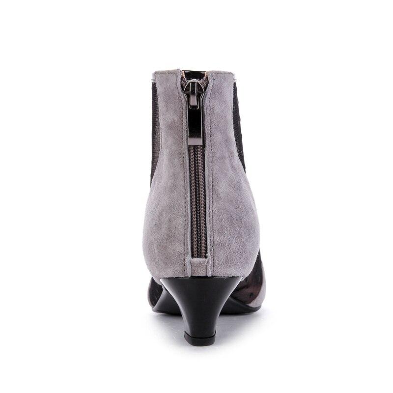 Bout Éclair Pointu Noir 2018 Gris Fermeture Cheville Populaire Chaton Vache Chaussures Femmes Noir Bottes Maille gris Mode Daim Kcenid Femme Talons En VGjSMqLUzp