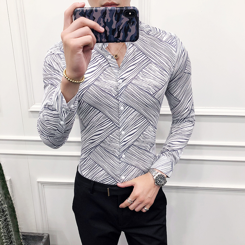 2018 autumn new British wind men 39 s long sleeved shirt Korean Slim stripes tight night field flower shirt tide in Casual Shirts from Men 39 s Clothing