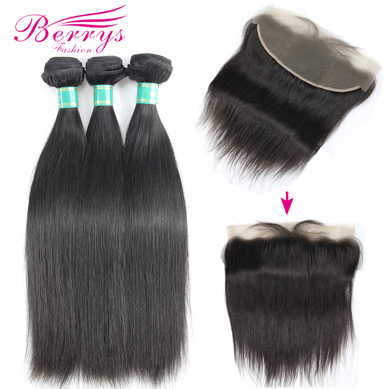 Berrys Fashion 10A Grade Virgin Straight 3Bundles With Lace Frontal 13x4