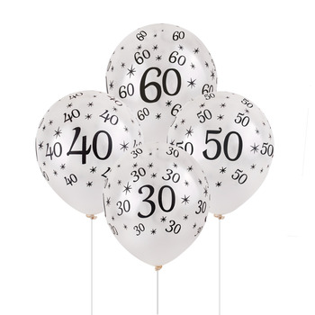 40th Birthday Balloon White 10 Pcs