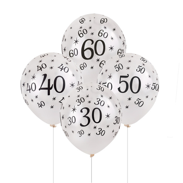 50th Birthday Balloon White 10 Pcs