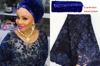Combination Unique Navy Blue Tulle Lace African French Lace Fabric Matching Sequins Beaded Velvet Turban Headtie
